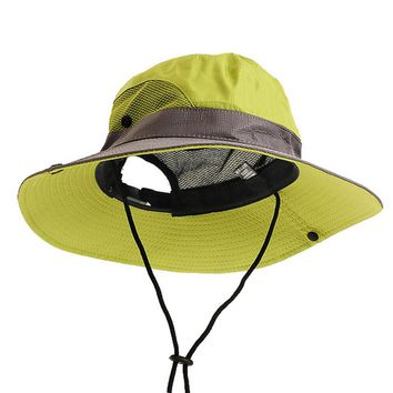 Men Women Hiking Hat Polyester Summer Hat Sun UV Protection Adjustable Breathable Wide Brim Cap Fishing Camping Outdoor Wear