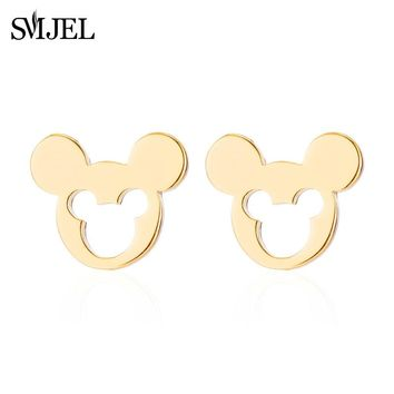 SMJEL Fashion Women Mickey Earrings Cartoon Minnie Mouse Stud Earrings Stainless Steel Cute Animal Small Jewelrys Earings Kids