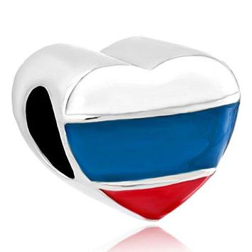 CharmsStory Heart Patriotic Russian Flag Charms Bead For Bracelets