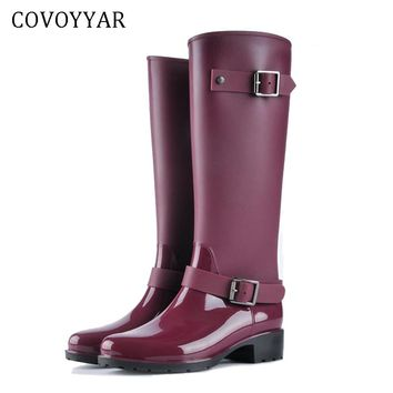 COVOYYAR 2018 Women Tall Rain Boots Waterproof PVC Work Knee High Rain Boots Flat Anti-slip Rubber Rainy Day Shoes Woman WBS479