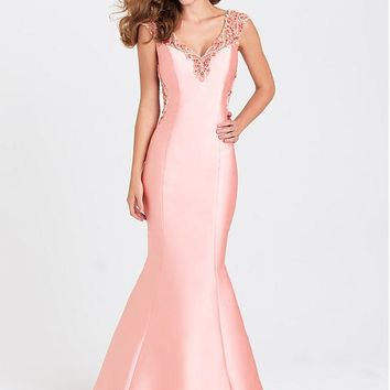 [126.99] Fabulous Satin V-neck Neckline Mermaid Evening Dresses With Beadings - dressilyme.com