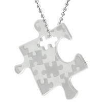 Stainless Steel Autism Awareness Puzzle Piece Pendant 1 1/8 tall