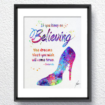 Cinderella Princess Shoe Inspired Watercolor Print Wall Decor Home Decor Birthday Gift Disney Inspired Item 071