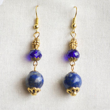 Lapis Lazuli Earrings - Cobalt Blue Earrings - Blue Earrings - Blue Gold Earrings - Royal Blue Earrings - Blue Crystal Earrings - Gold Blue