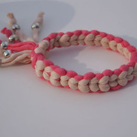 Pink and Beige T-Shirt Yarn Braided Bracelet. Cuff with Tassel and Silver Plated Beads. Eco-friendly Jewellery .