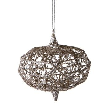 Urban Nature Gold Wire with Silver Glitter Onion Christmas Ornament 4""