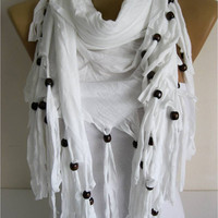 Trend Scarf- White Scarf-  Shawls-Scarves-gift Ideas For Her Women's Scarves-christmas gift- for her -Fashion accessories