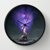 All Things Share the Same Breath (Coyote Galaxy) Wall Clock by Soaring Anchor Designs
