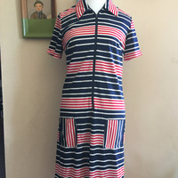 Vintage 80's Red White and Blue Zipper Front Striped Dress Size Large