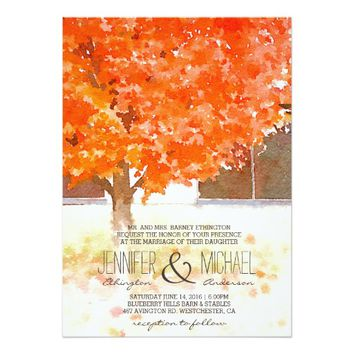 Watercolor Autumn Leaves | Fall Wedding Invitation