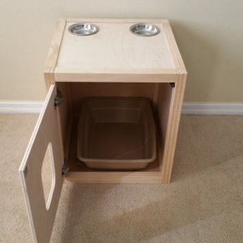 Cat Litter Box Cube with Top Feeding Staion, Wood not MDF, Made in USA, Choice of Stain
