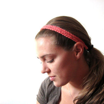 Braided Headband in coral fabric Fashion by SmiLeaGainCreations