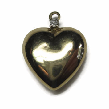 Small Vintage 14K Yellow Gold Puffy Heart Charm Pendant
