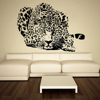 Wall Decal Vinyl Sticker Decals Art Decor Design Leopard Panter Animals Speed Nature Wild World Cat Kitten Pets Friend Bedroom Fashion(r514)