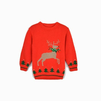 Vintage 50s/60s Red Reindeer Sweater / Tacky Christmas Sweater / Children's Sweater - Girl's Large