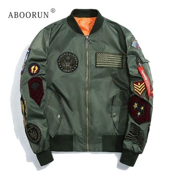 Trendy ABOORUN 2018 New Spring US MA-1 Bomber Jackets Korean Mens Slim Baseball Coat with Patches Army Windbreaker Jackets YC1022 AT_94_13