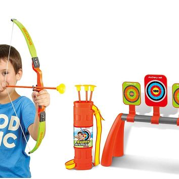 Kids Pretend Play Archery Bow & Arrow Target Set Developmental Toy