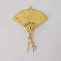 Lot of 2 Moving/Articulating Charms - Fan, Scissors Goldtone Pendants - Vintage-Old Jewelry