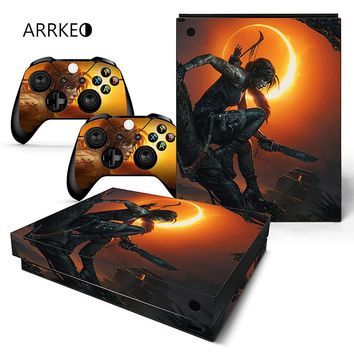 ARRKEO Shadow of the Tomb Raider Vinyl Cover Decal Xboxone X Skin Sticker Custom Bomb For Xbox One X Console 2 Controller Skins
