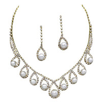 Cream Pearl Regal Bridal Necklace Earring Set W Rhinestones  Gold Tone