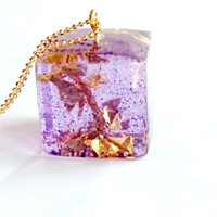 Purple Cubed Resin Pendant Gold and Purple Cubed Necklace Resin Necklace