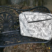 Mid Century Soft Sided Overnight Suitcase Overnight Bag Black and White  Mod Butterfly Design