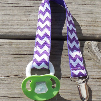 Purple Chevron Ribbon, Chevron Pacifier Holder, Binky Clip, Pacifier Clip or Toy Clip