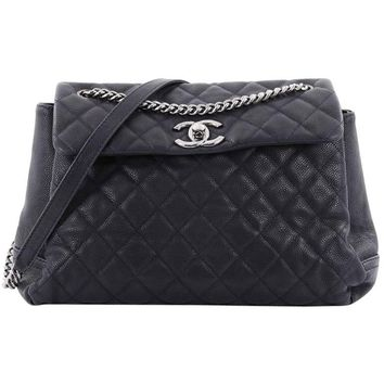 Chanel Lady Pearly Flap Bag Quilted Matte Caviar Large