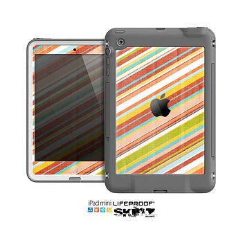 The Vintage Slanted Color Stripes Skin for the Apple iPad Mini LifeProof Case