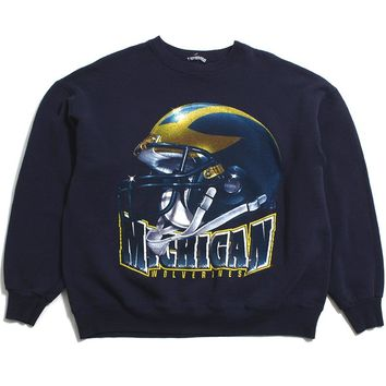 University of Michigan 3D Helmet Crewneck Sweatshirt Navy (XL)