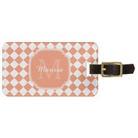 Trendy Light Orange Checked Monogrammed Name Luggage Tag