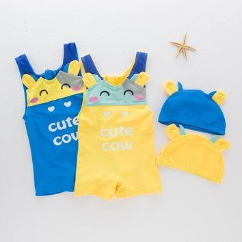 Toddler Baby Swimsuits Infant Bebes Boys' Swimming Suit Summer Baby Swimwear Cute Cow Kids Boys Beach Clothing Surf Wear UV