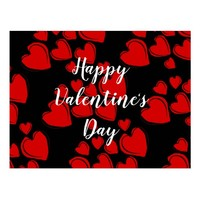 Red and Black Happy Valentine's Day Postcard