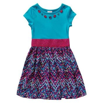 Youngland Rhinestone Floral Dress - Girls