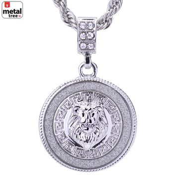 """Jewelry Kay style Men's Silver Plated Iced Out Round Lion Face Pendant 24"""" Rope Chain HC 2048 S"""