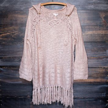 Dusty Pink Gypsy Knit Hoodie Pullover Sweater