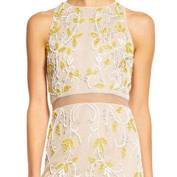 Floral Beaded Halter Dress with Sheer Waist and Skirt