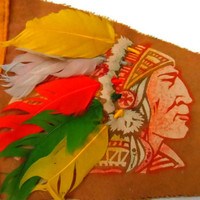 Vintage Felt Pennant / Cherokee Indian Reservation / Road Trip Collectibles
