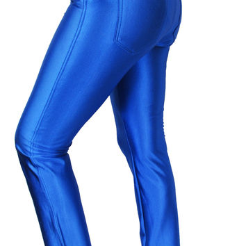 WOMENS GIRLS SHINY DISCO PANTS POCKET JEANS JEGGINGS AMERICAN APPARELS