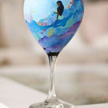 Painted Mermaid Wine Glass: Hand Painted Underwater Scene