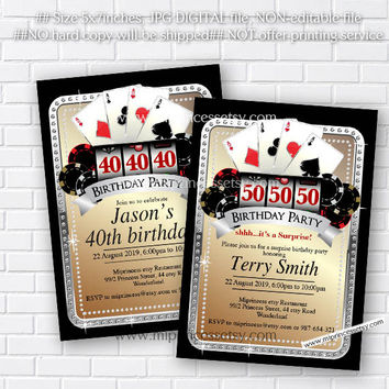 Poker Playing Card Gold birthday invitation, Casino night gold glitter design invitation for any age 30th 40th 50th 60th 70th 80th card 521