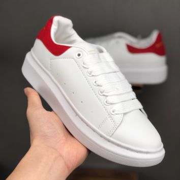 Alexander McQueen White Red Women Fashion Casual Sneakers Men Sport Shoes - Best Deal Online