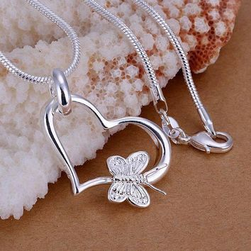 silver plated butterfly heart pendants necklace