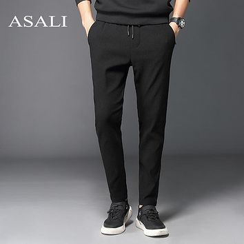 ASALI 2017 New Fashion Tracksuit Bottoms Mens Pants Cotton Sweatpants Mens Joggers Striped Pants Gyms Clothing Plus Size 5XL