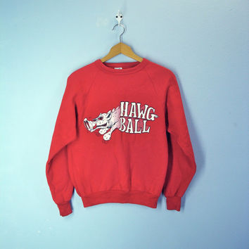 80s Vintage Razorback Sweatshirt University of Arkansas Go Hogs Hawg Ball
