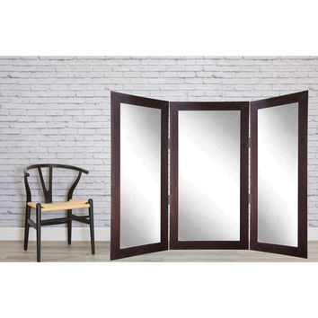 Brandt Works Dark Walnut Tri-Fold 3 Way Dressing Mirror