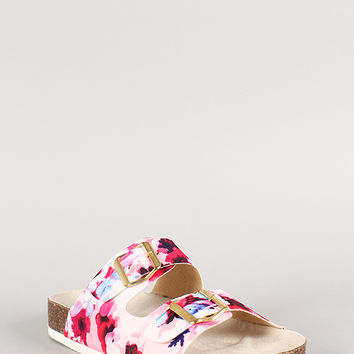 Qupid Floral Print Buckle Slip On Footbed Flat Sandal