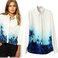 Blue Floral Gradient Print Long-Sleeve Collar Shirt