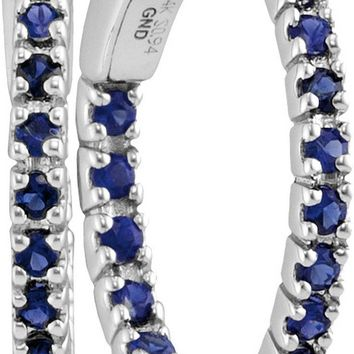 14kt White Gold Womens Round Blue Sapphire Hoop Earrings 1-1/4 Cttw