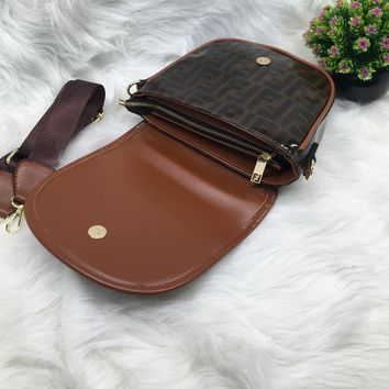 """Fendi"" All-match Fashion  Circular Letter Quilted Chain Single Shoulder Messenger Bag Women Flip Small Square Bag"